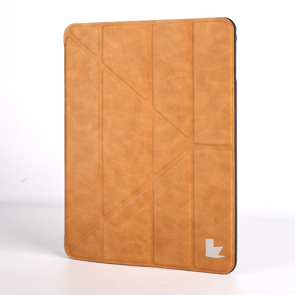 Husa versatila piele microfibra, stand, suport pencil integrat, smart cover, iPad 9.7 (iPad 6 / iPad 5) / iPad Air - Jison Case, Maro tabac