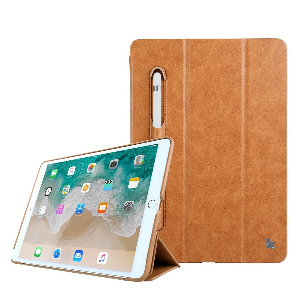 Husa piele fina microfibra, stand, suport pencil, smart cover, iPad 9.7 (iPad 6 / iPad 5) / iPad Air - Jison Case, Maro tabac
