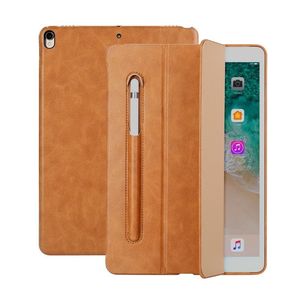 Husa piele fina microfibra, stand, suport pencil, smart cover, iPad Pro 10.5 / iPad Air 3 10.5 - Jison Case, Maro tabac