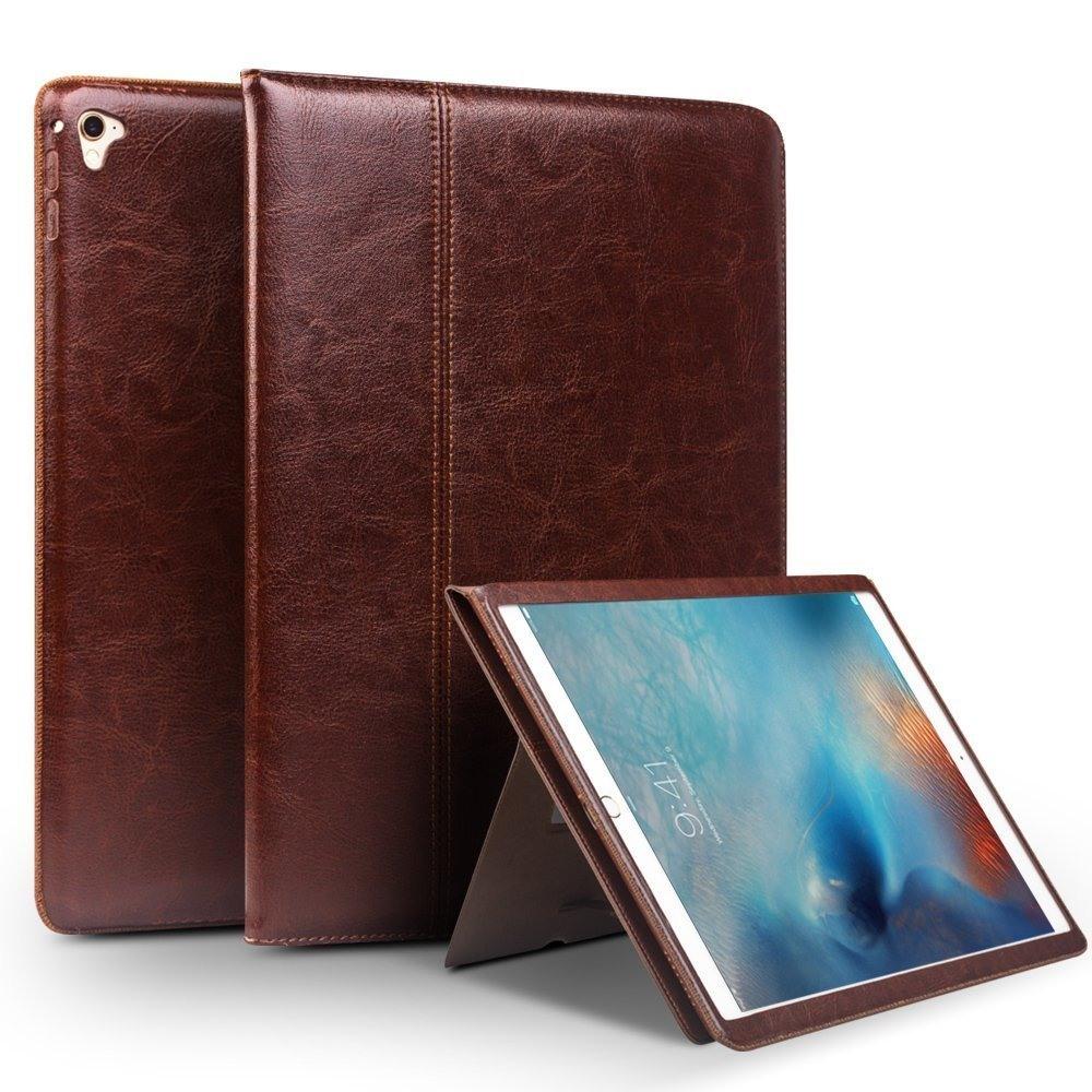 Husa piele naturala cu rama completa, stand + suport mana, smart cover, iPad 9.7 (iPad 6 / iPad 5) / iPad Air 2 - Qialino Classic, Maro coffee
