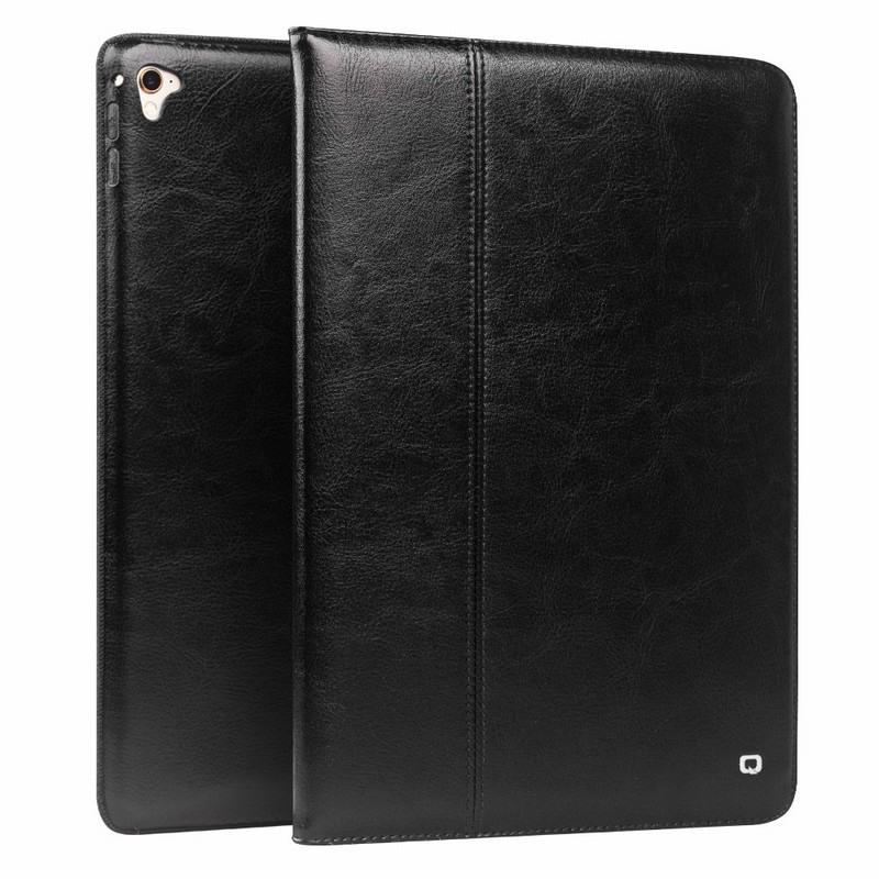 Husa piele naturala cu rama completa, stand + suport mana, smart cover, iPad Pro 12.9 (2017 / 2015) - Qialino Classic, Negru