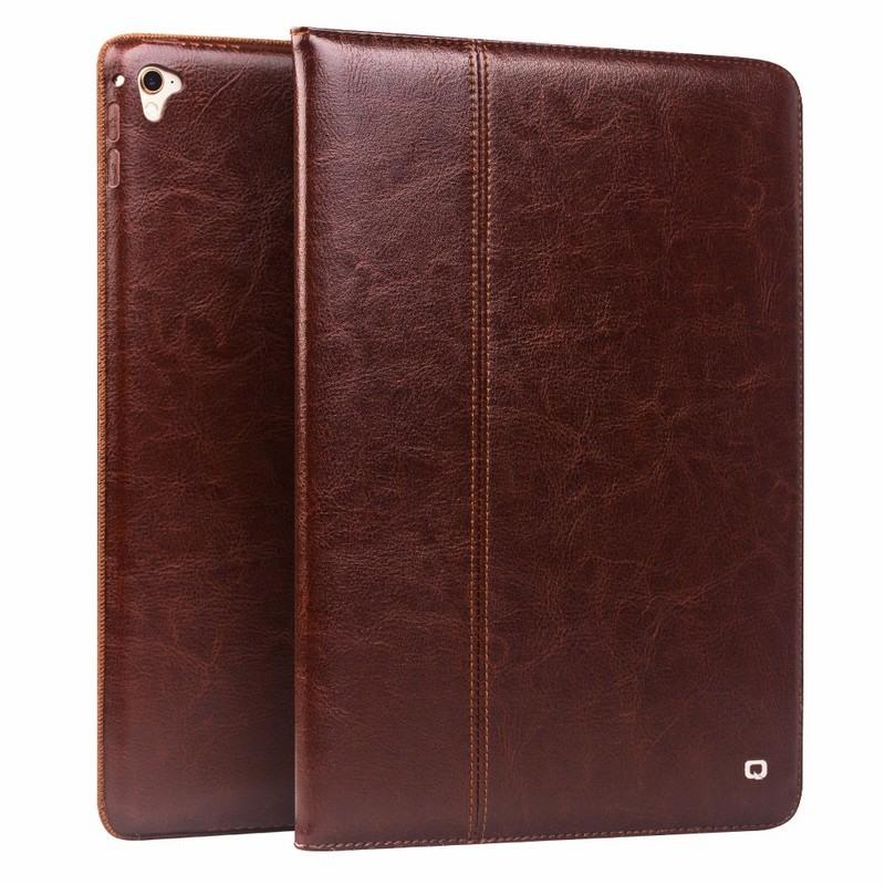 Husa piele naturala cu rama completa, stand + suport mana, smart cover, iPad Pro 12.9 (2017 / 2015) - Qialino Classic, Maro coffee
