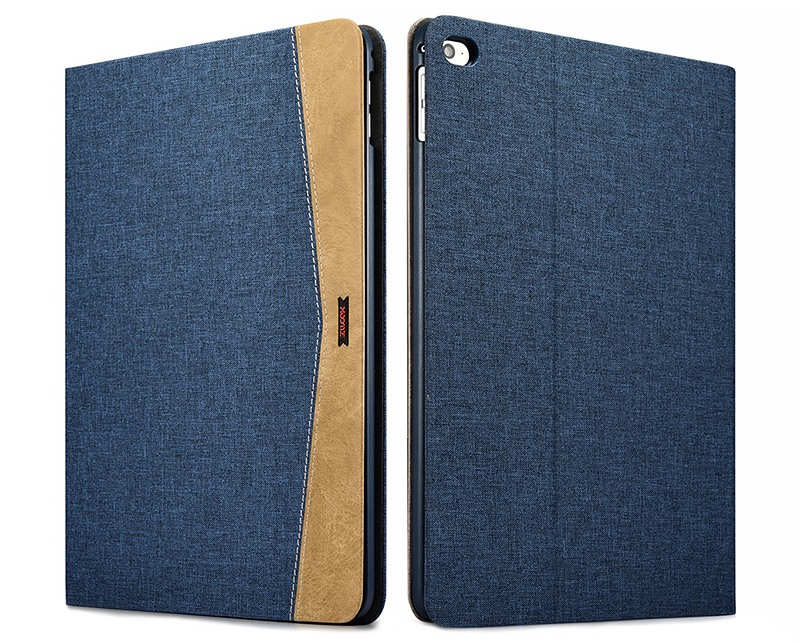 Husa slim din material textil, smart cover, functie stand, iPad Air 2 - Xoomz by iCarer Fabric, Albastru