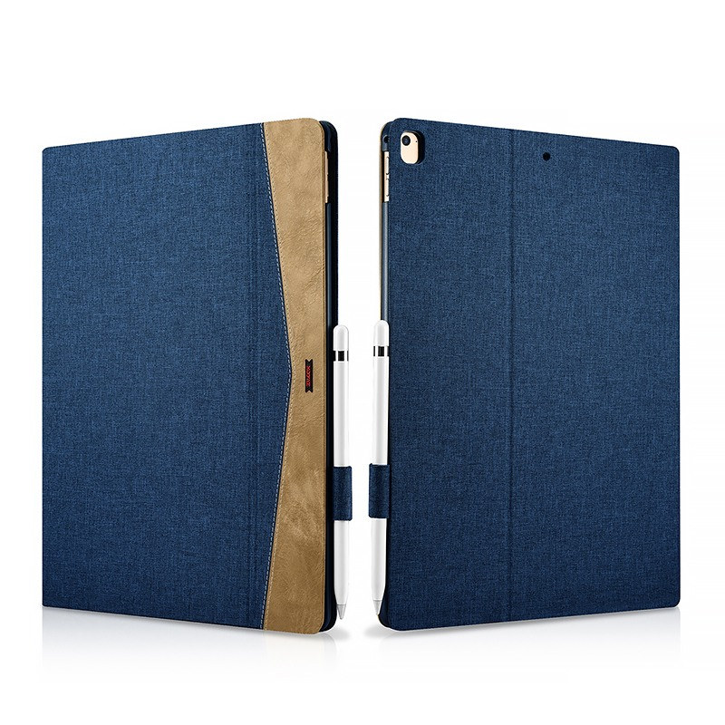 Husa slim din material textil, smart cover, functie stand, iPad Pro 12.9 (2017 / 2015) - Xoomz by iCarer Fabric, Albastru