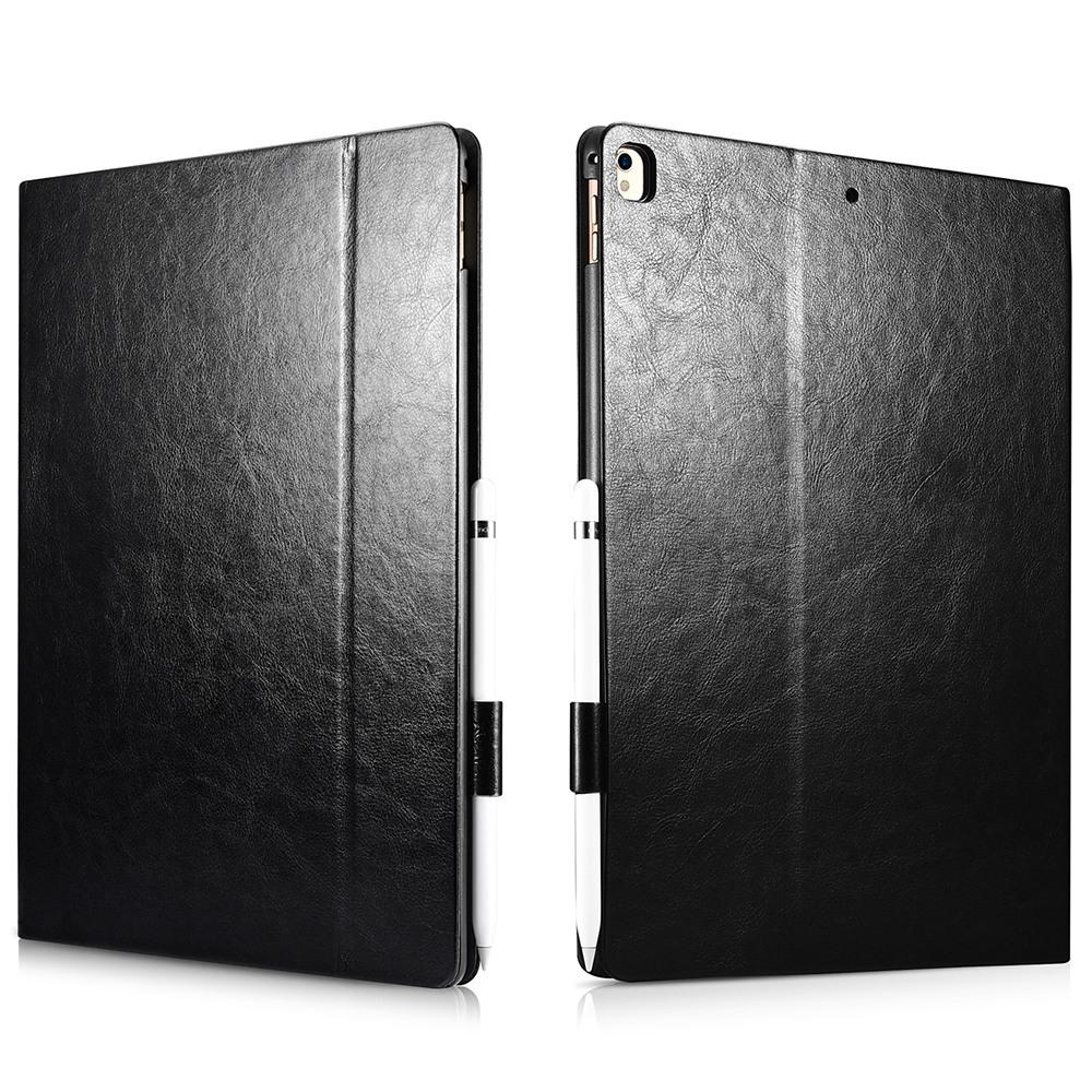 Husa piele fina, functie stand, suport pencil, iPad Pro 12.9 (2017 / 2015) - Xoomz by iCarer Knight, Negru