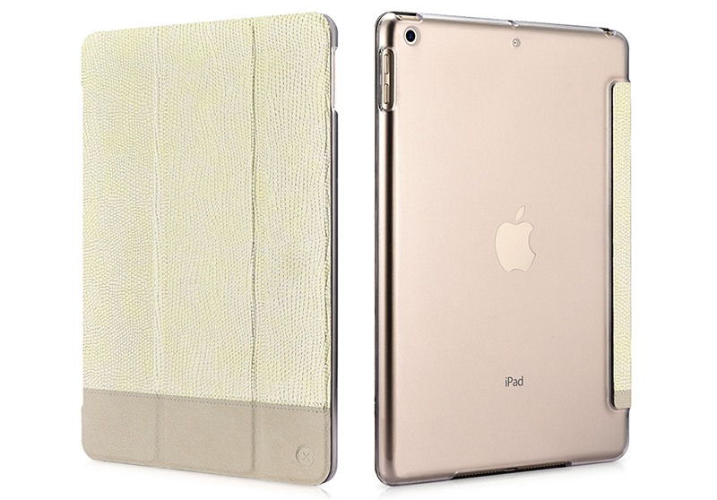 Husa slim cu spate transparent, smart cover, functie stand, iPad 9.7 (iPad 6 / iPad 5) - Xoomz by iCarer Shining, Gold