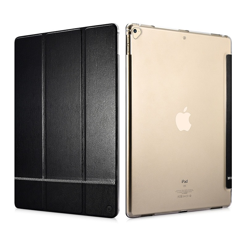 Husa slim cu spate transparent, smart cover, functie stand, iPad Pro 12.9 (2017 / 2015) - Xoomz by iCarer Shining, Negru