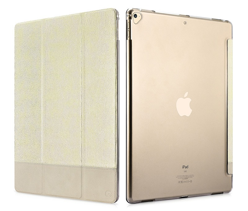 Husa slim cu spate transparent, smart cover, functie stand, iPad Pro 12.9 (2017 / 2015) - Xoomz by iCarer Shining, Gold