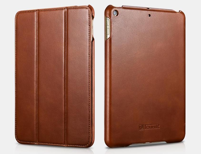 Husa din piele naturala, smart cover, functie stand, iPad Mini 5 (2019) - iCARER Vintage, Maro coniac