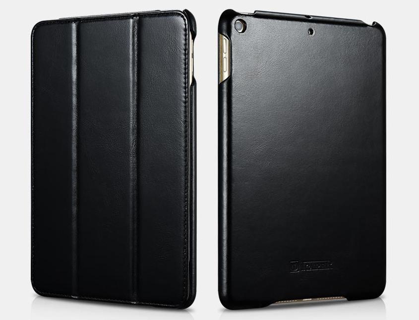 Husa din piele naturala, smart cover, functie stand, iPad Mini 5 (2019) - iCARER Vintage, Negru
