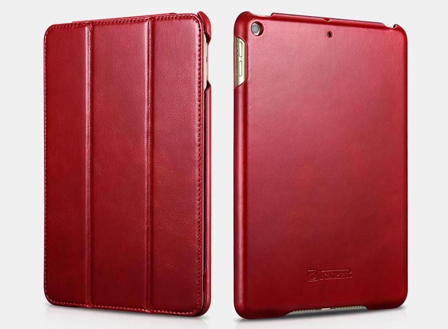 Husa din piele naturala, smart cover, functie stand, iPad Mini 5 (2019) - iCARER Vintage, Rosu burgund