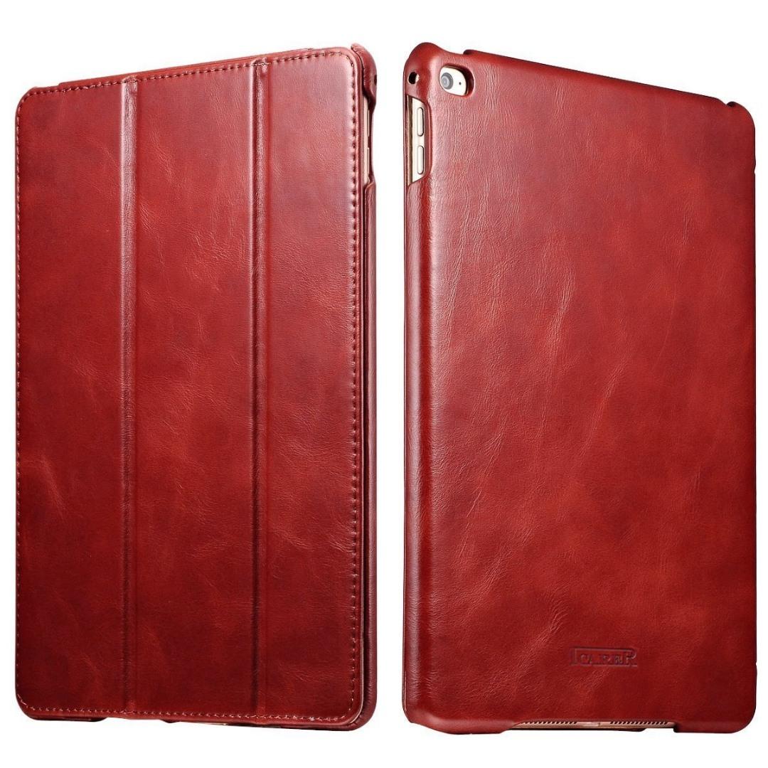 Husa din piele naturala, smart cover, functie stand, iPad Air 2 - iCARER Vintage, Rosu burgund