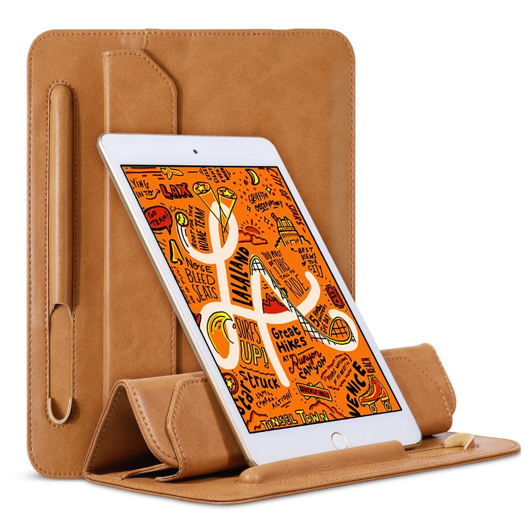 Husa piele fina microfibra tip plic, functie stand, suport pencil, iPad Mini 5 (2019) / 4 / 3 / 2 / 1 - Jison Case Pouch, Maro tabac