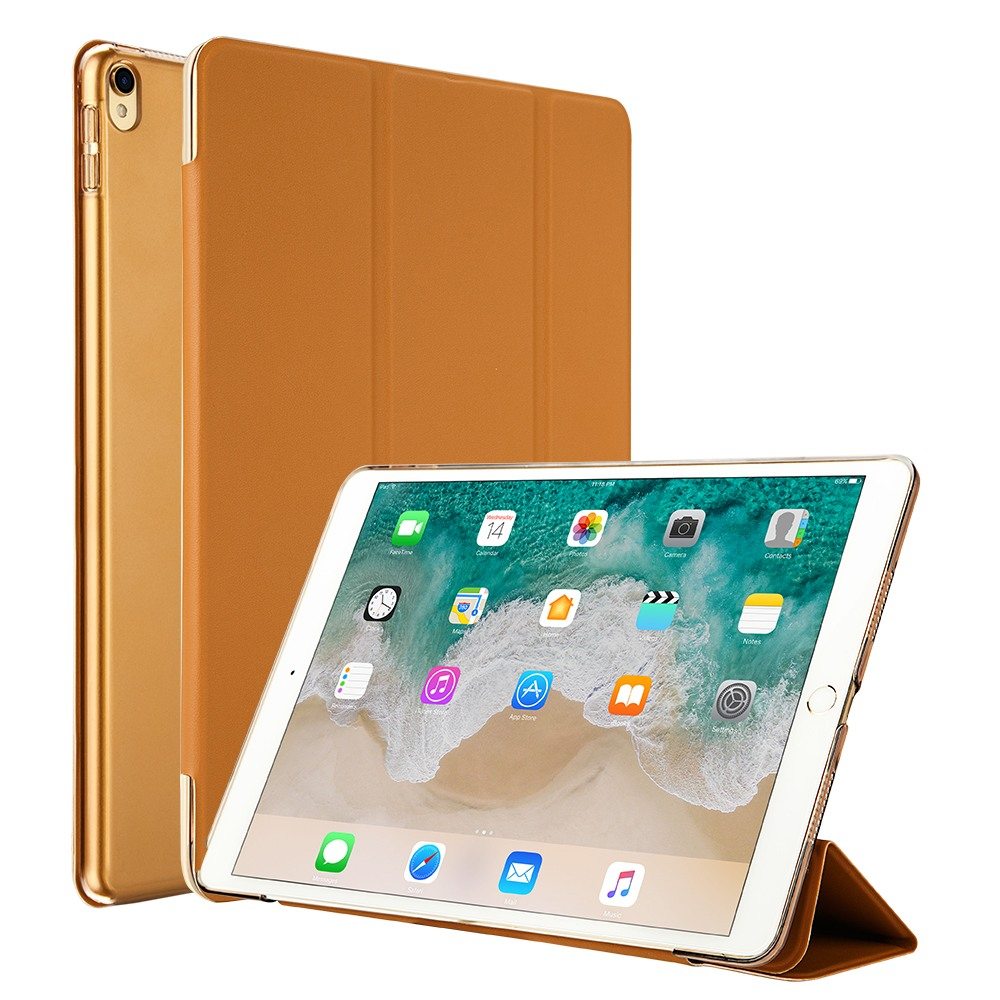 Husa slim cu spate transparent, smart cover, functie stand, iPad Pro 10.5 / iPad Air 3 10.5 - Jison Case, Maro