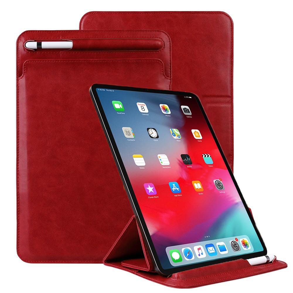 Husa piele fina microfibra tip plic, functie stand, suport pencil, iPad Pro 11 - Jison Case Pouch, Rosu