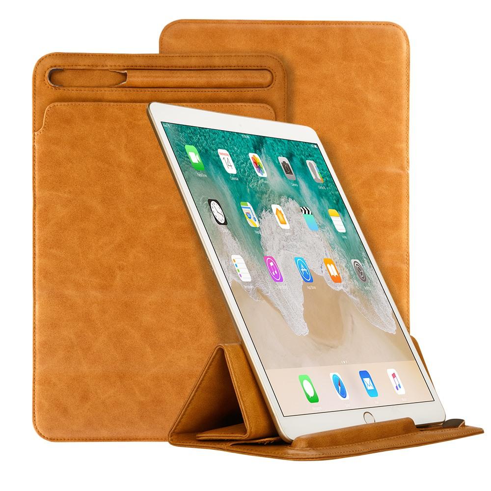 Husa piele fina microfibra tip plic, functie stand, suport pencil, iPad Pro 12.9 (2017 / 2015) - Jison Case Pouch, Maro tabac