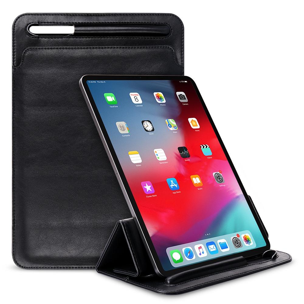 Husa piele fina microfibra tip plic, functie stand, suport pencil, iPad Pro 11 (2020), iPad Pro 11 (2018) - Jison Case Pouch, Negru