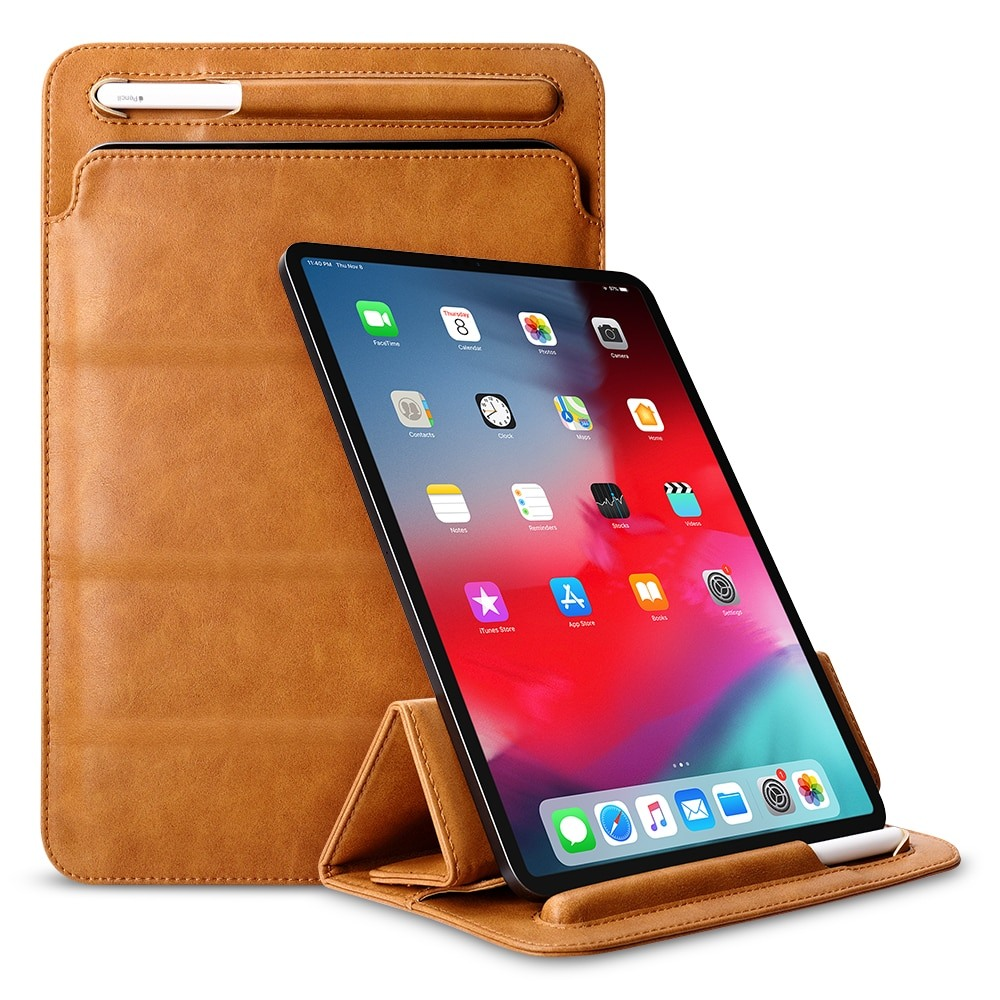 Husa piele fina microfibra tip plic, functie stand, suport pencil, iPad Pro 12.9 (2020), iPad Pro 12.9 (2018) - Jison Case Pouch, Maro tabac