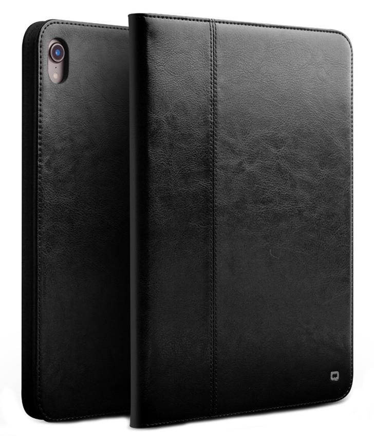 Husa piele naturala cu rama completa, stand + suport mana, smart cover, iPad Pro 11 (2018) - Qialino Classic, Negru