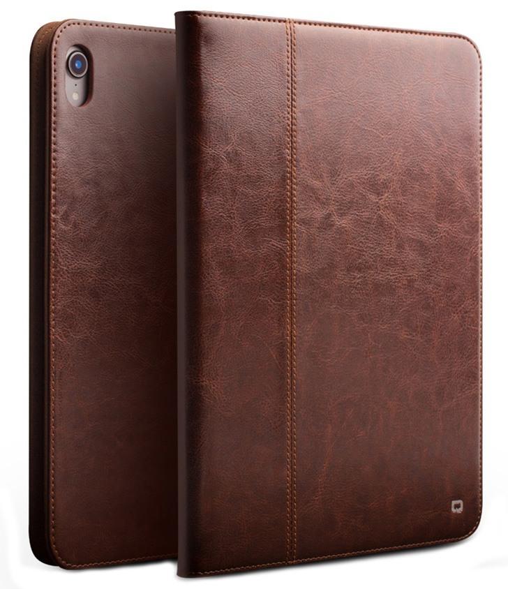 Husa piele naturala cu rama completa, stand + suport mana, smart cover, iPad Pro 12.9 (2018) - Qialino Classic, Maro coffee