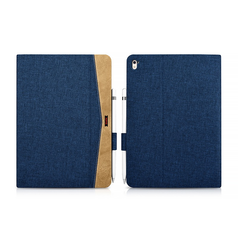 Husa slim din material textil, smart cover, functie stand, iPad Pro 9.7 - Xoomz by iCarer Fabric, Albastru