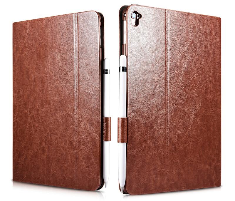 Husa piele fina, functie stand, suport pencil, iPad Pro 9.7 - Xoomz by iCarer Knight, Maro coniac