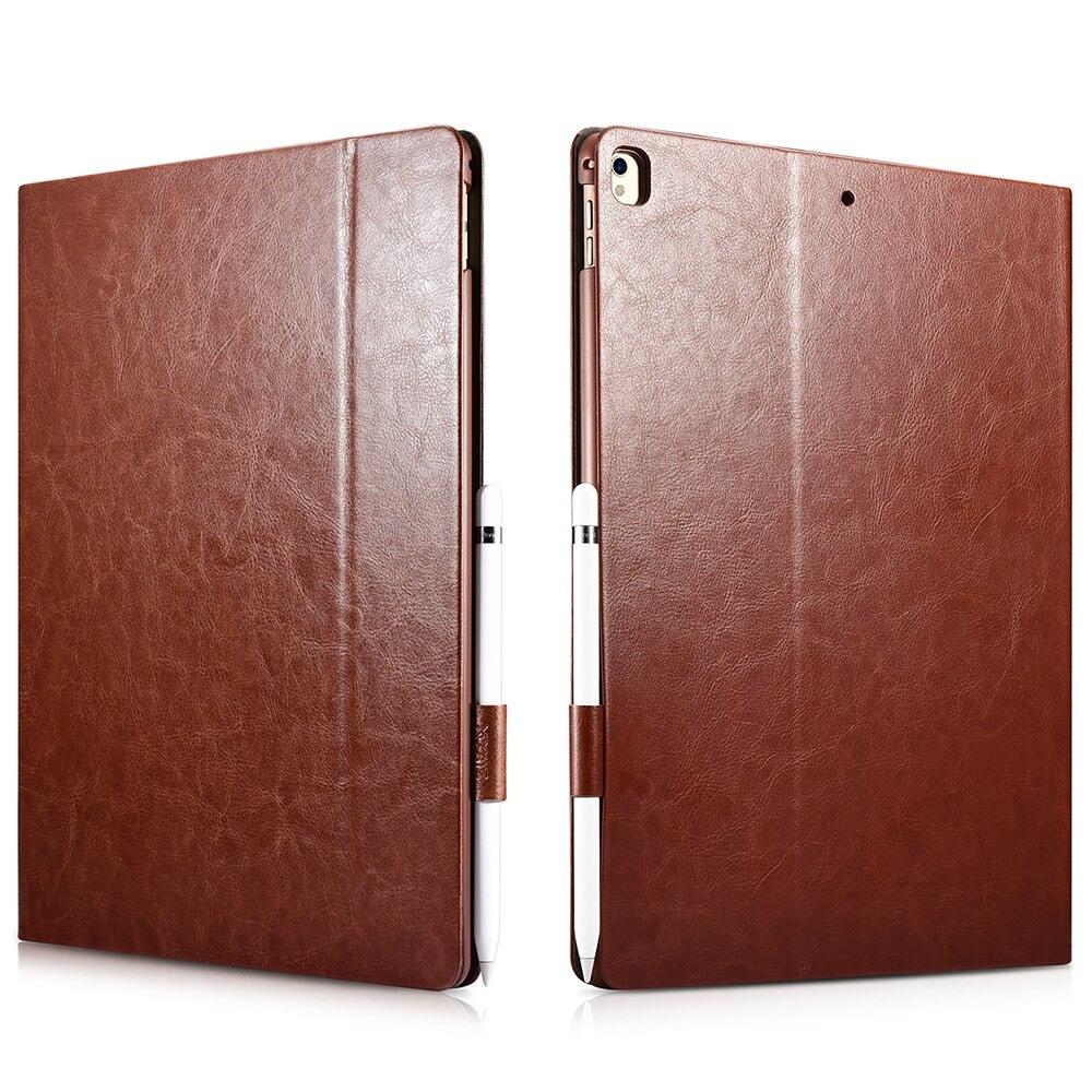 Husa piele fina, functie stand, suport pencil, iPad Pro 12.9 (2017 / 2015) - Xoomz by iCarer Knight, Maro coniac
