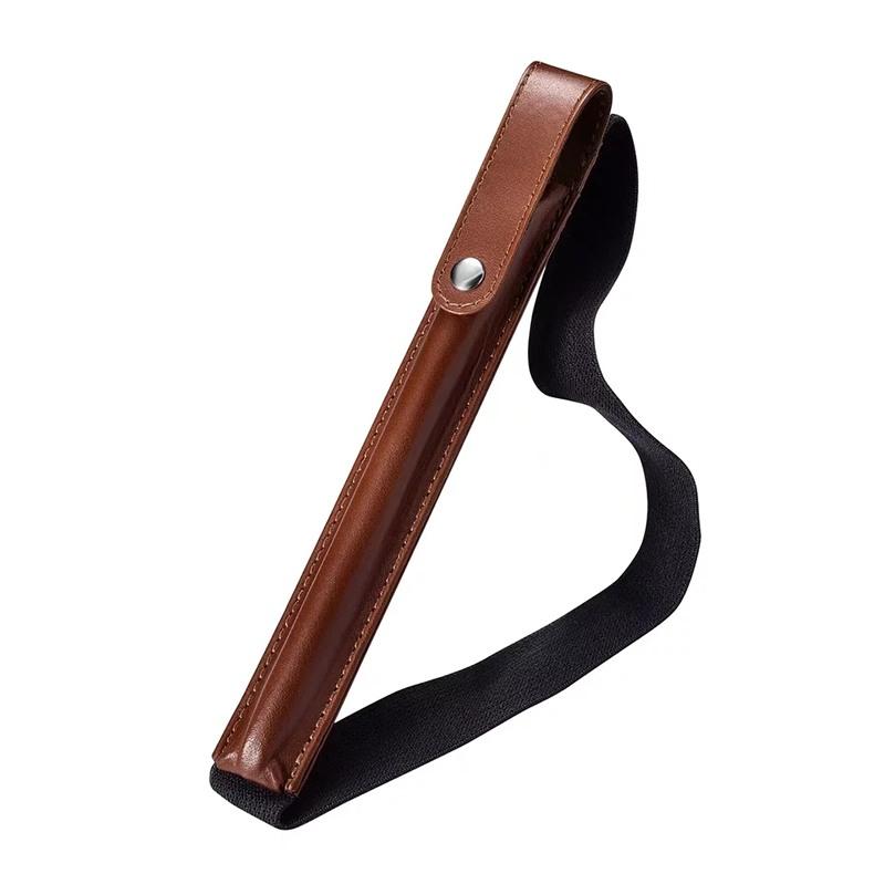 Suport / husa pentru pencil din piele naturala, cu banda elastica - iCarer, Maro coniac