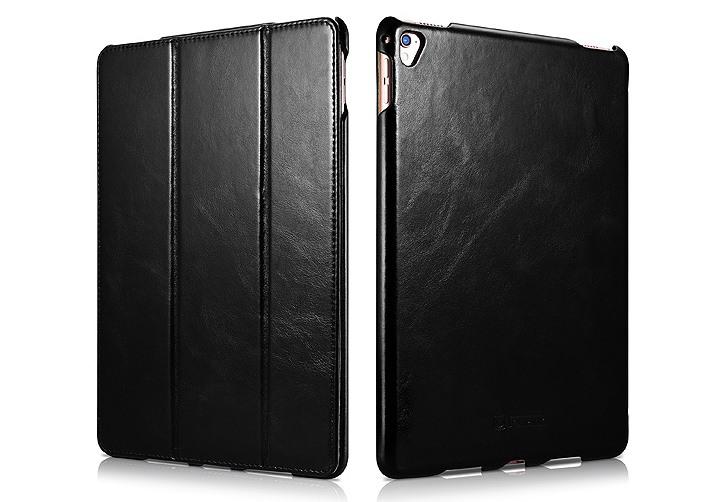 Husa din piele naturala, smart cover, functie stand, iPad Pro 9.7 - iCARER Vintage, Negru