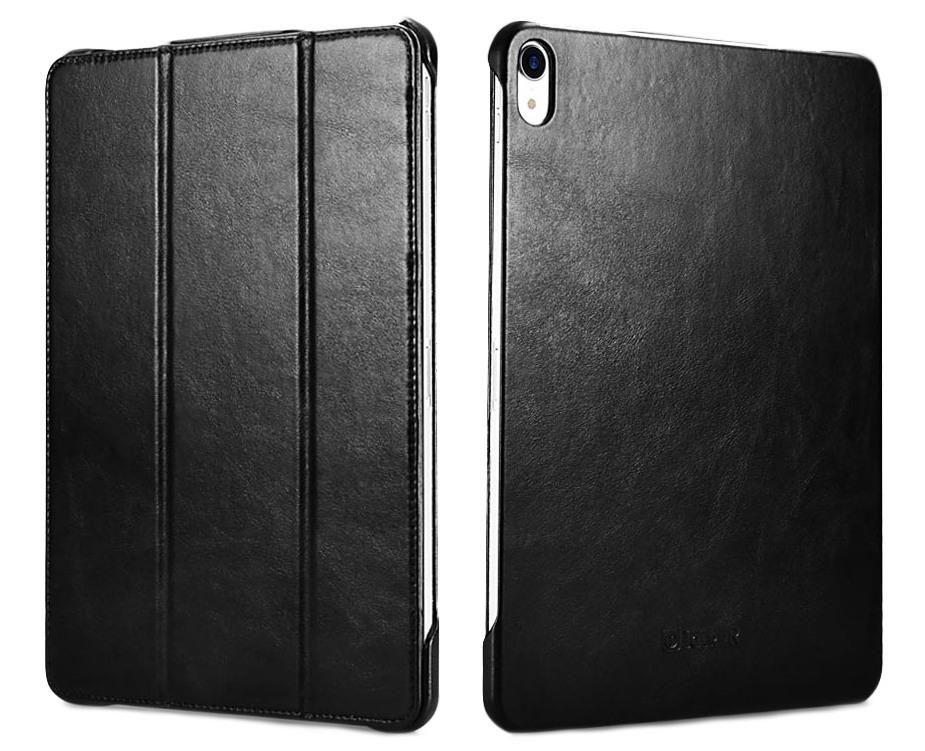 Husa din piele naturala, smart cover, functie stand, iPad Pro 12.9 (2018) - iCARER Vintage, Negru