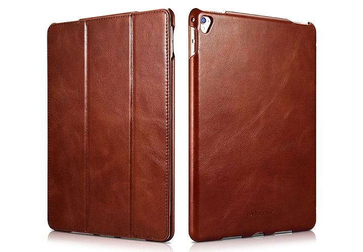 Husa din piele naturala, smart cover, functie stand, iPad Pro 9.7 - iCARER Vintage, Maro coniac
