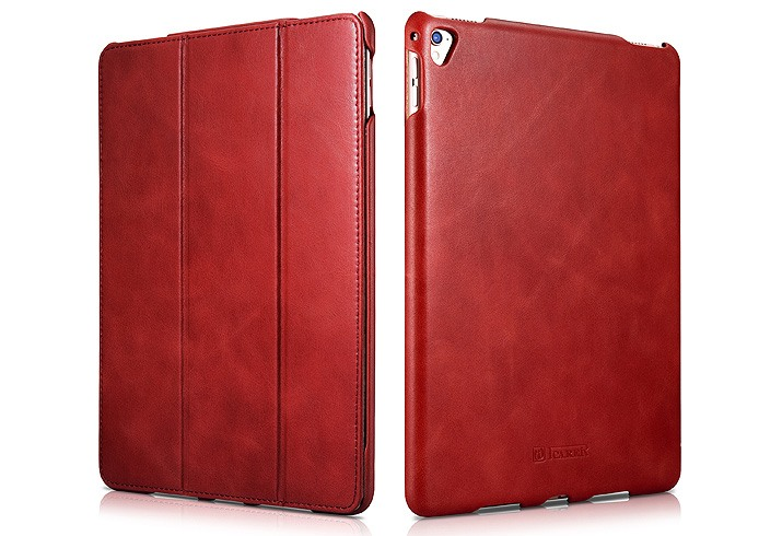 Husa din piele naturala, smart cover, functie stand, iPad Pro 9.7 - iCARER Vintage, Rosu burgund