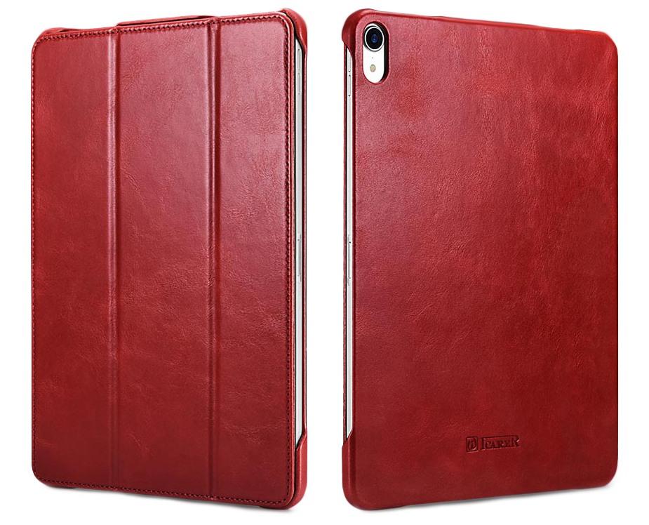 Husa din piele naturala, smart cover, functie stand, iPad Pro 11 - iCARER Vintage, Rosu burgund