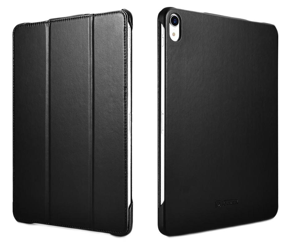 Husa piele, functie stand, auto on / off, iPad Pro 11 - iCarer Microfiber, Negru