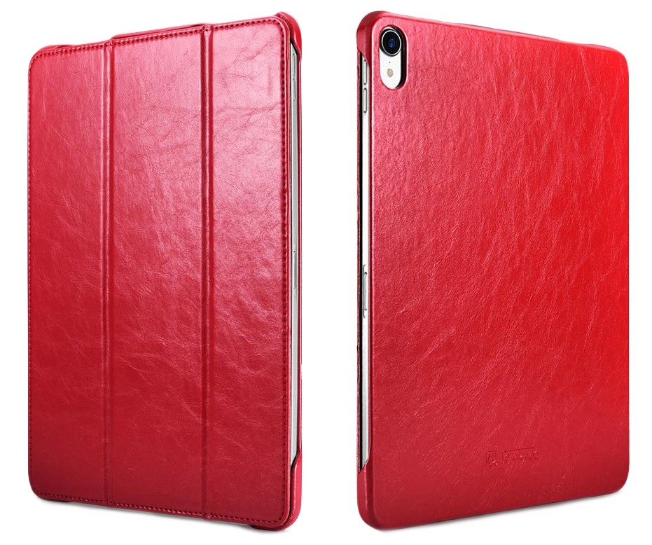 Husa piele, functie stand, auto on / off, iPad Pro 11 - iCarer Microfiber, Rosu burgund