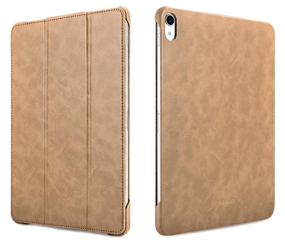 Husa piele, functie stand, auto on / off, iPad Pro 11 (2018) - iCarer Microfiber, Camel