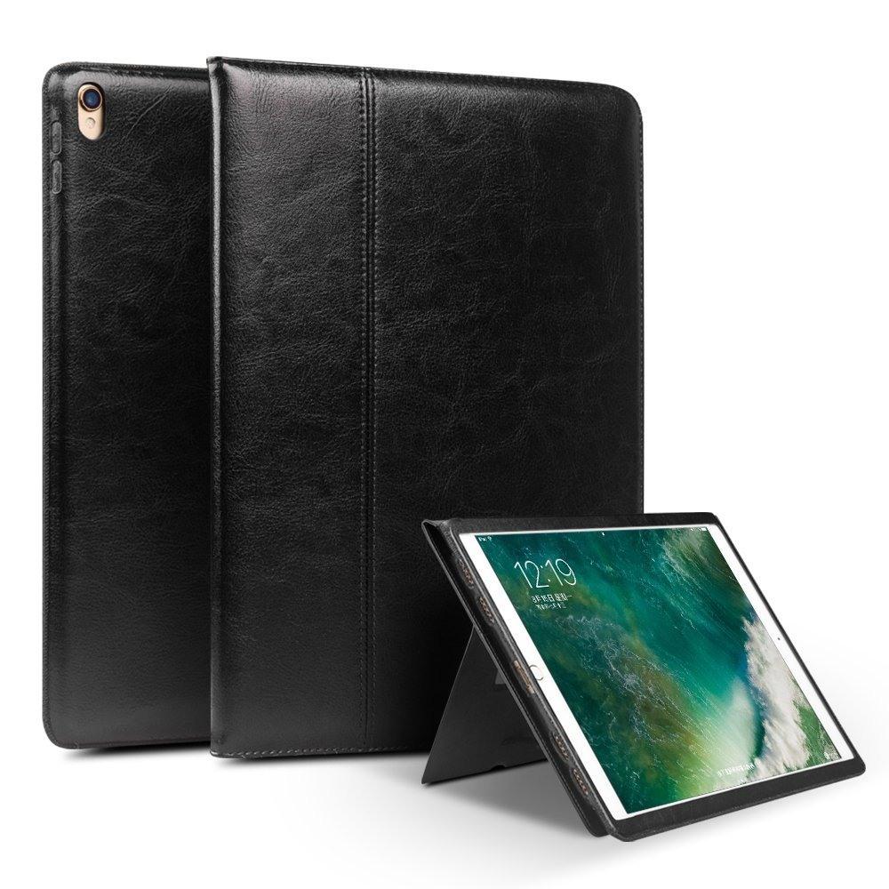 Husa piele naturala cu rama completa, stand + suport mana, smart cover, iPad Pro 10.5 / iPad Air 3 10.5 - Qialino Classic, Negru