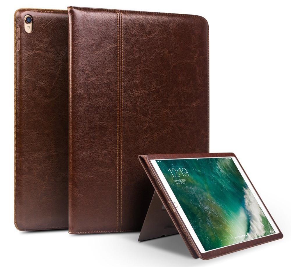 Husa piele naturala cu rama completa, stand + suport mana, smart cover, iPad Pro 10.5 / iPad Air 3 10.5 - Qialino Classic, Maro coffee