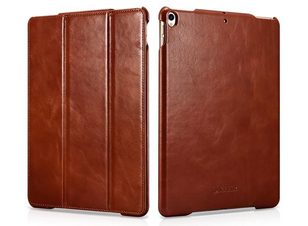 Husa din piele naturala, smart cover, functie stand, iPad Pro 10.5 / iPad Air 3 10.5 - iCARER Vintage, Maro coniac