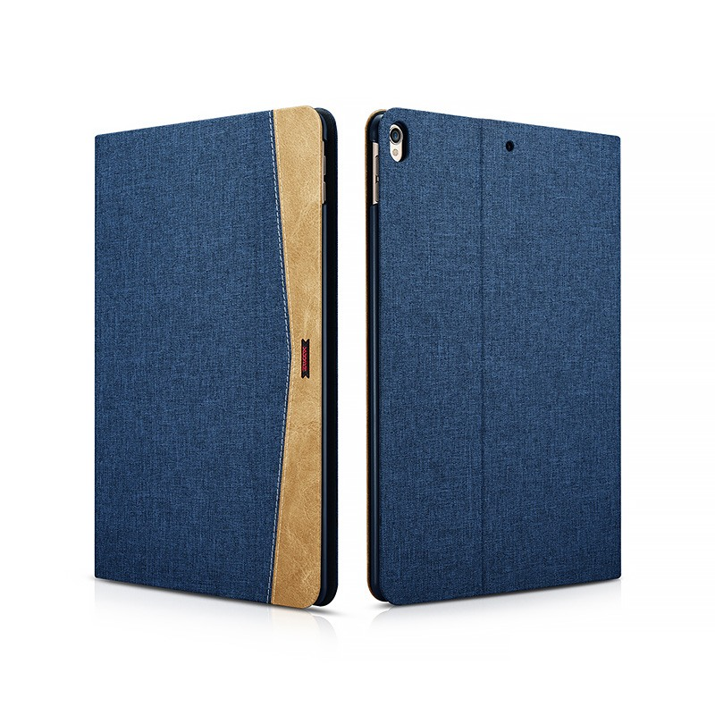 Husa slim din material textil, smart cover, functie stand, iPad Pro 10.5 / iPad Air 3 10.5 - Xoomz by iCarer Fabric, Albastru