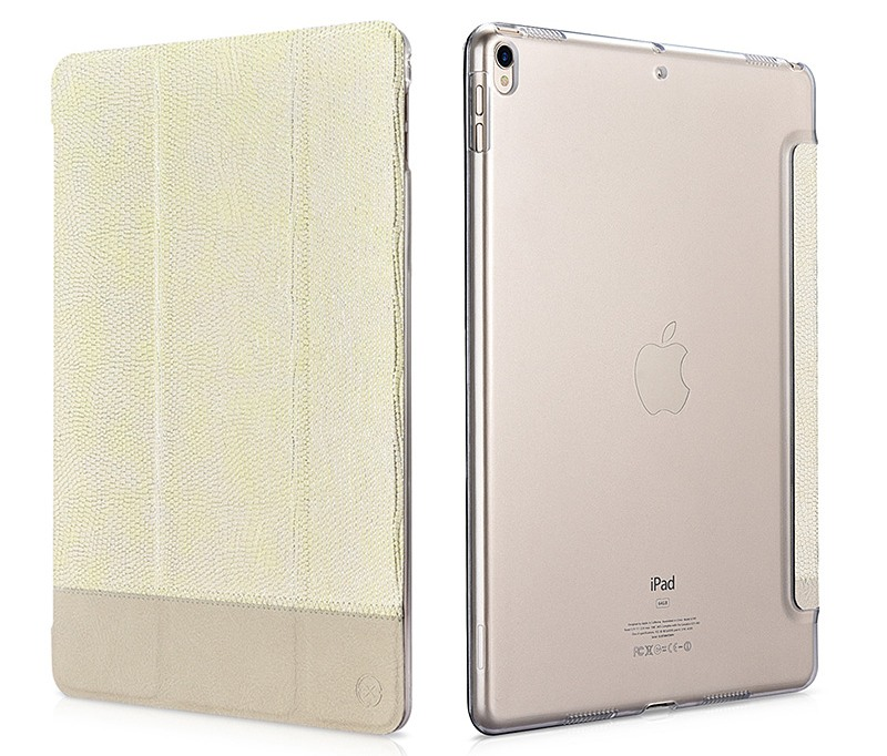 Husa slim cu spate transparent, smart cover, functie stand, iPad Pro 10.5 / iPad Air 3 10.5 - Xoomz by iCarer Shining, Gold