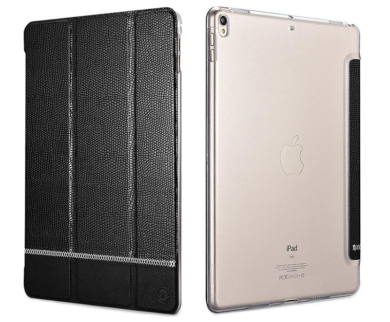 Husa slim cu spate transparent, smart cover, functie stand, iPad Pro 10.5 / iPad Air 3 10.5 - Xoomz by iCarer Shining, Negru