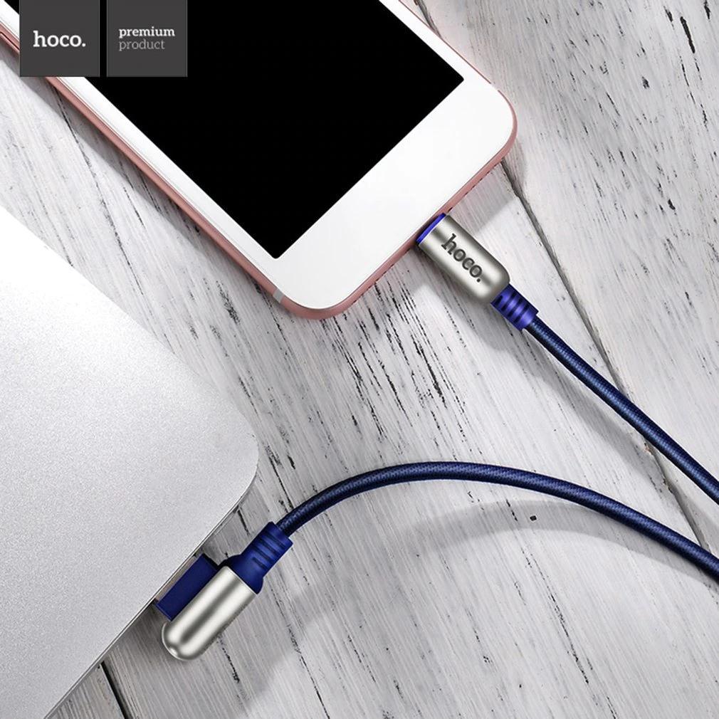 Cablu incarcare textil impletit , capete aliaj zinc, USB + Lightning - Hoco, Albastru indigo