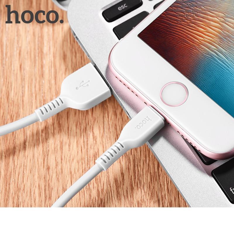 Cablu incarcare USB + Lightning, incarcare rapida, 3 metri - Hoco, Alb