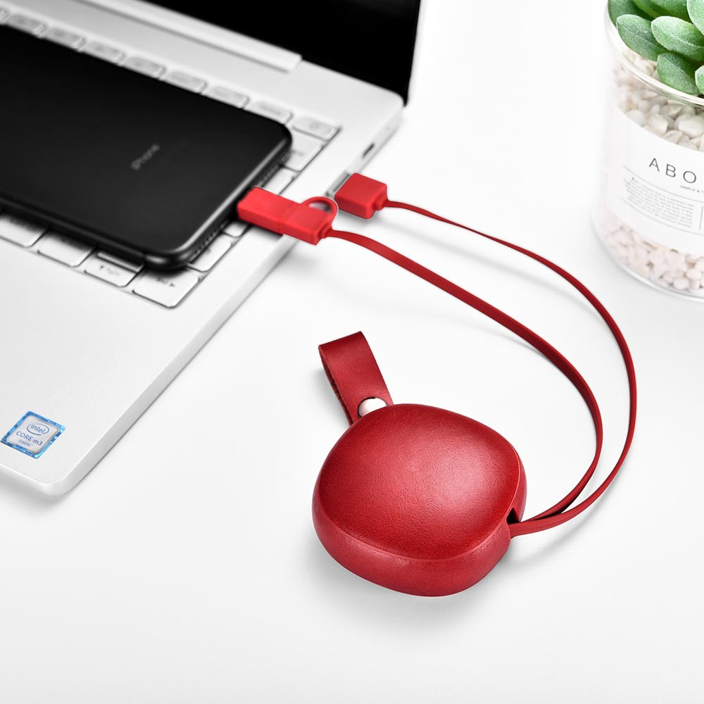 Cablu de incarcare retractabil 2 in 1, piele naturala, USB + Lightning / Micro USB - iCarer Vintage, Rosu burgund
