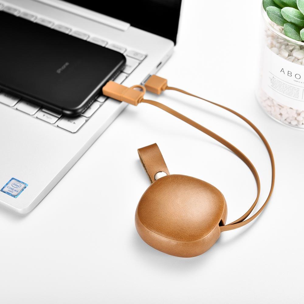 Cablu de incarcare retractabil 2 in 1, piele naturala, USB + Lightning / Micro USB - iCarer Vintage, Maro camel