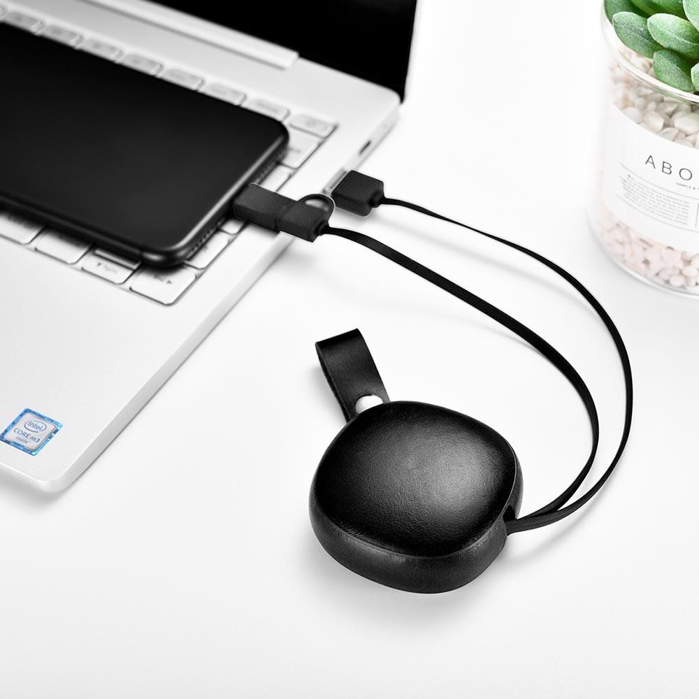 Cablu de incarcare retractabil 2 in 1, piele naturala, USB + Type-C / Micro USB - iCarer Vintage, Negru
