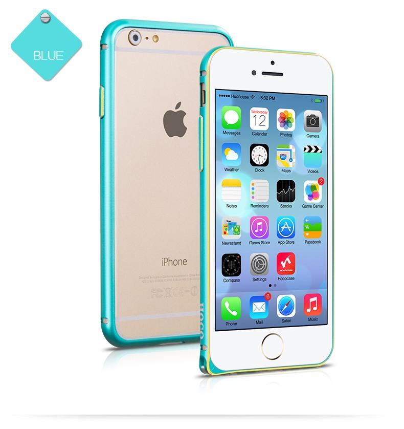 Bumper slim din aluminiu satinat, iPhone 6 - Hoco Hippocampal, Albastru
