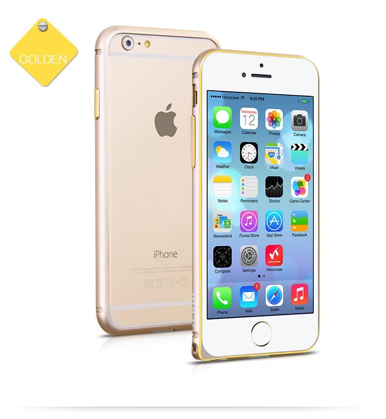 Bumper slim din aluminiu satinat, iPhone 6 Plus - Hoco Hippocampal, Gold