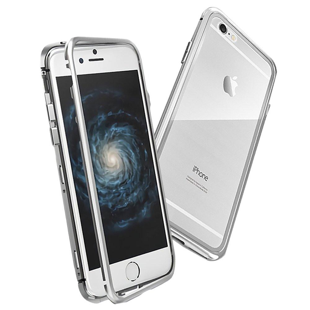 Husa tip bumper magnetic + folie sticla securizata spate, iPhone 6 / 6s - CaseMe, Argintiu